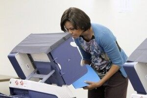 The First Lady Casts Her Ballot