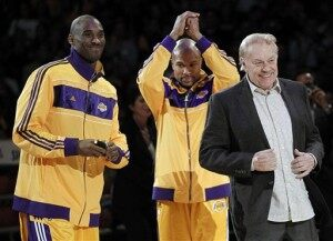 Jerry Buss, right, Kobe Bryant, Derek Fisher