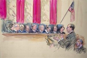 Sonia Sotomayor, Stephen Breyer, Clarence Thomas, Antonin Scalia, John Roberts, Anthony Kennedy, Ruth Bader Ginsburg, Samuel Alito and Elena Kagan, Paul Clement, Donald B. Verrilli Jr