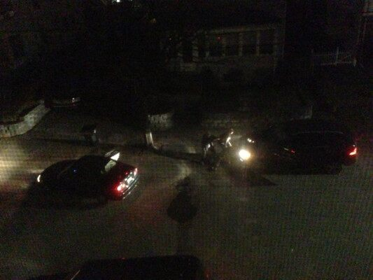 The shootout between the suspects and the cops.