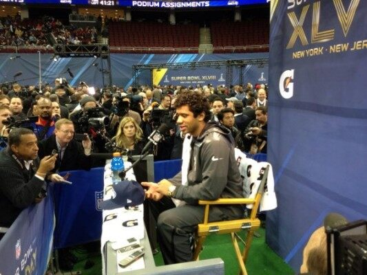 Russell Wilson at Super Bowl 'Media Day' 1/28/14