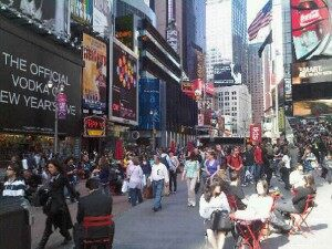 Friday afternoon in Times Square, NYC
