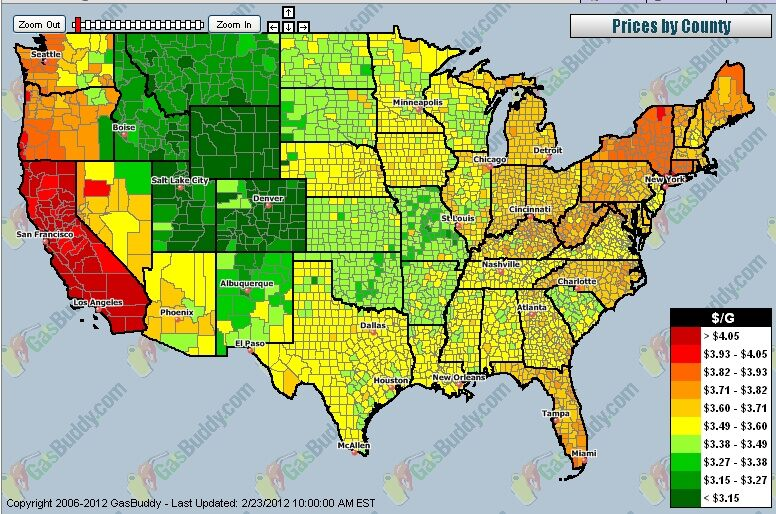 CHART How Much Are You Paying USA National Gas Price Heat Map - Heat map us