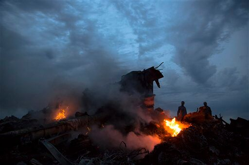 Crash site in Ukraine. (AP Photo/Dmitry Lovetsky)