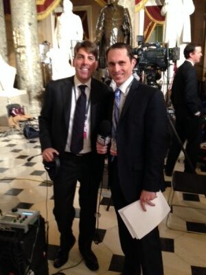 FOX News Radio's Jon Decker (left) and Jared Halpern (right) in National Statuary Hall. (Photo Credit: FOX News Radio)