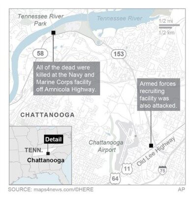 Map locates two shooting sites.; 2c x 4 inches; 96.3 mm x 101 mm;