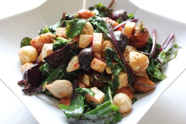 Chef Brian Alberg Roasted root vegetables with fresh spinach Photo Credit: Angela Cardinali