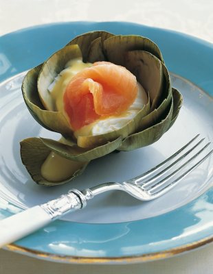 1Steamed Artichokes with Poached Eggs and Smoked Salmon
